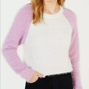 Planet Gold Junior's Fuzzy Cropped Sweater Medium